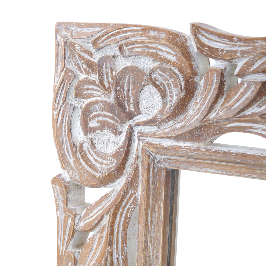 Paula Traditional Mirror with Floral Carved Frame