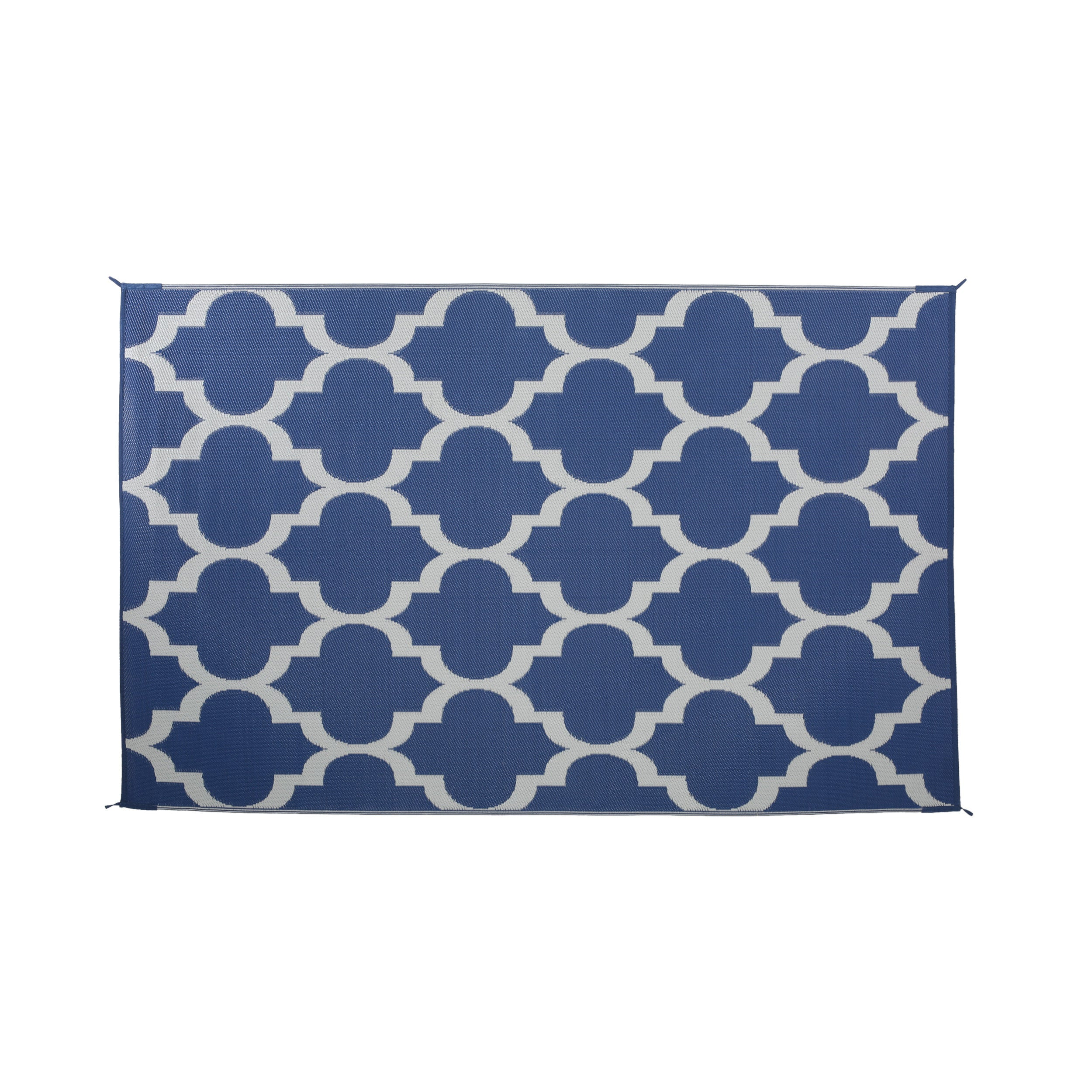 Alesandro Outdoor Modern Scatter Rug Night Blue and White