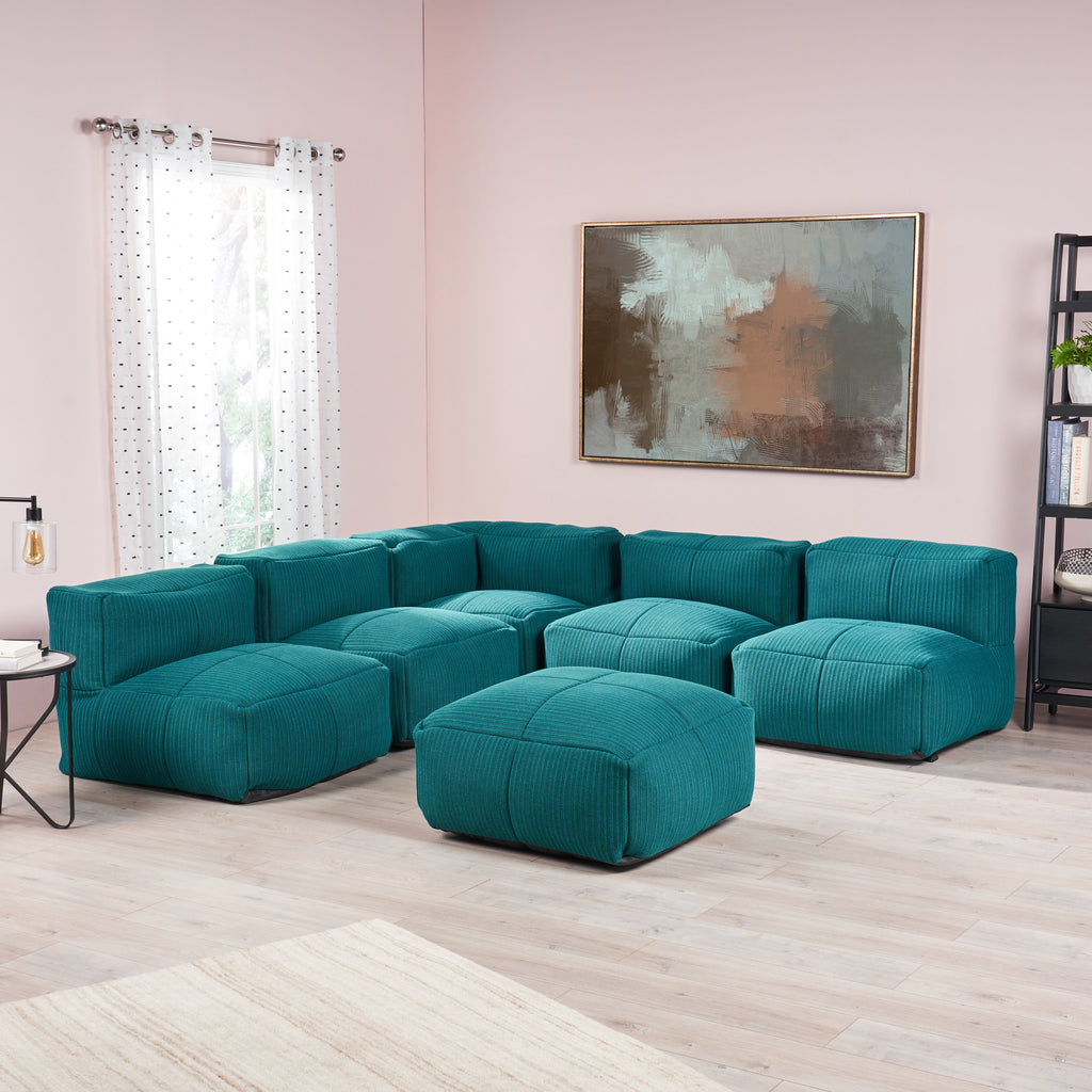 liyat indoor contemporary fabric 5 seater bean bag sectional with ottoman