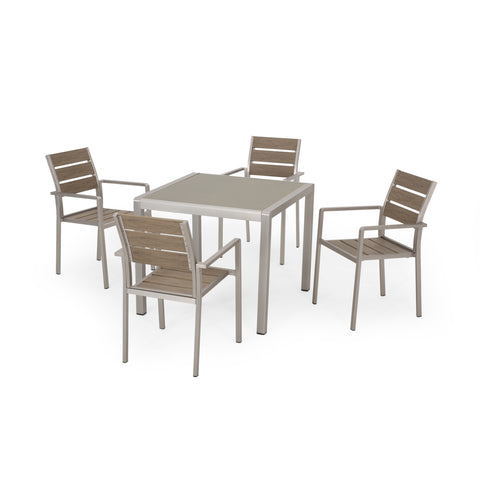 Cherie Outdoor Modern Aluminum 4 Seater Dining Set with Faux Wood Seats