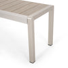 Cherie Outdoor Modern Aluminum Dining Bench with Faux Wood Seat