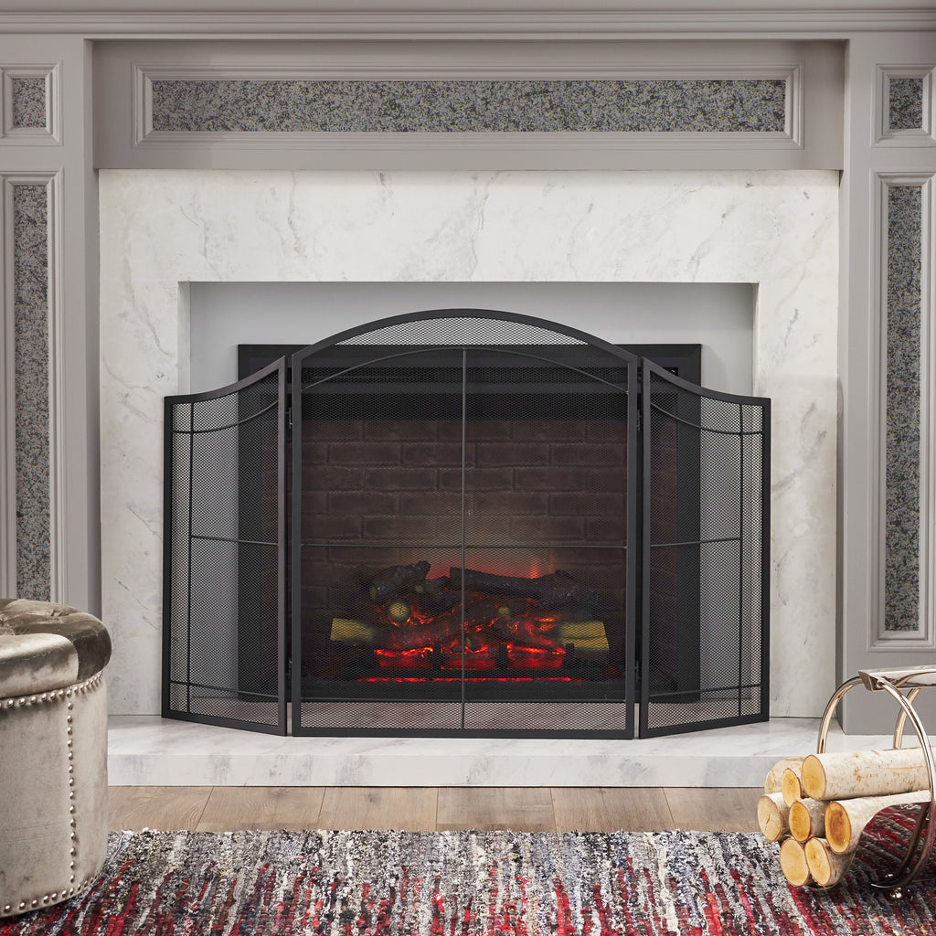 Zooey Modern Iron Folding Fireplace Screen