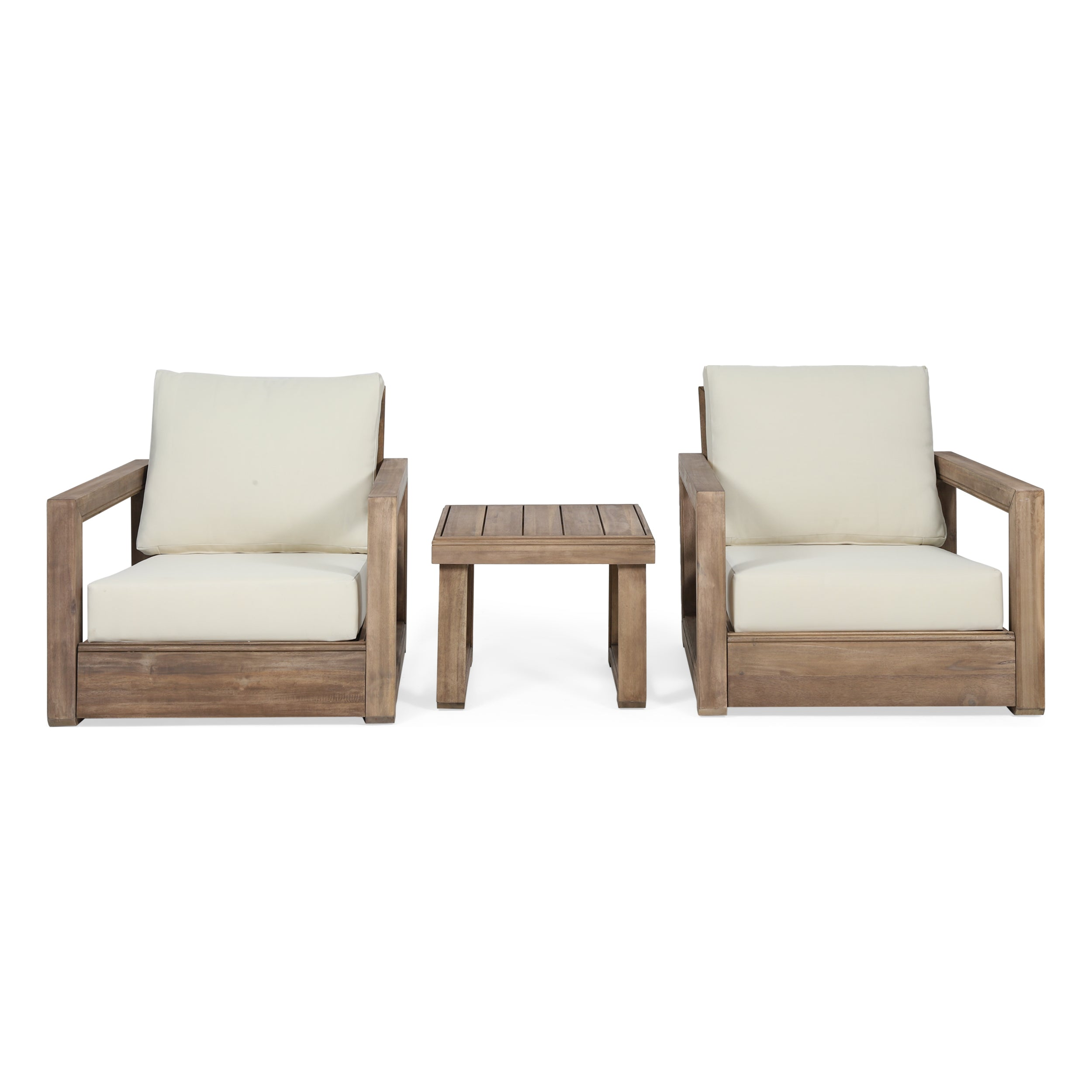 Andrae Outdoor 3 Piece Acacia Wood Chat Set