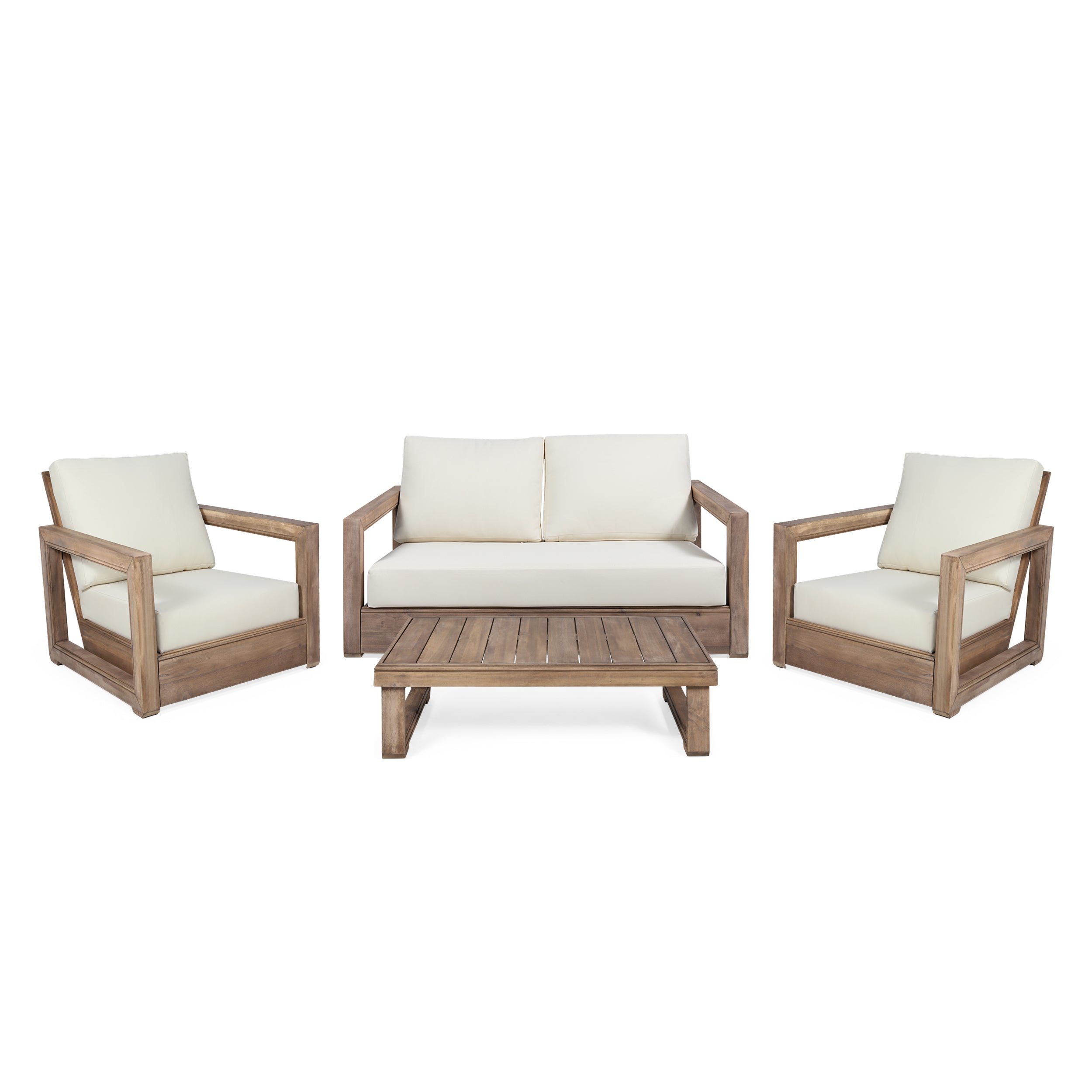 Andrae Outdoor 4 Seater Acacia Wood Chat Set with Water Resistant Cushions