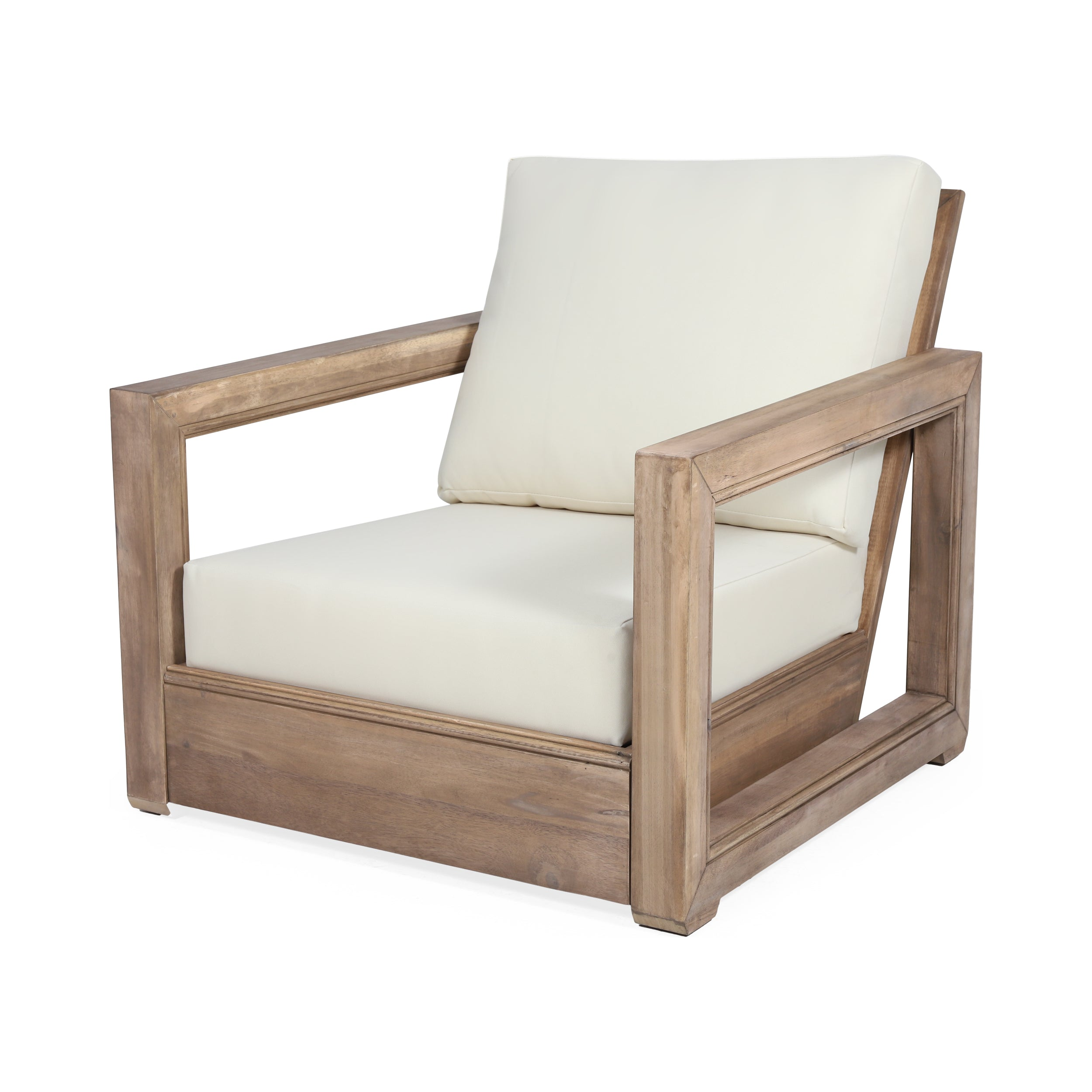 Andrae Outdoor Acacia Wood Club Chairs Set of 4 Default Title