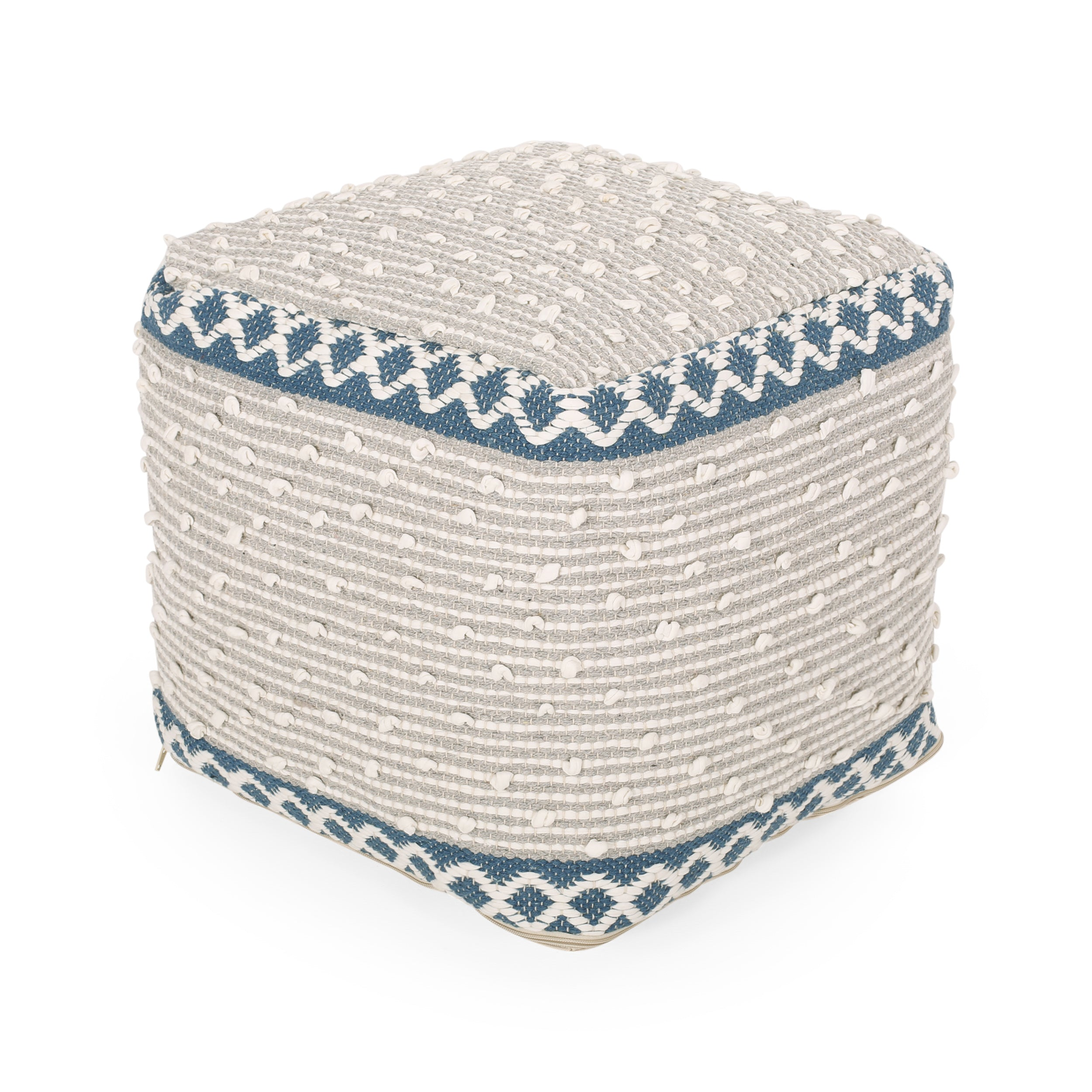 Amiyrah Hand Crafted Cotton Cube Pouf Default Title