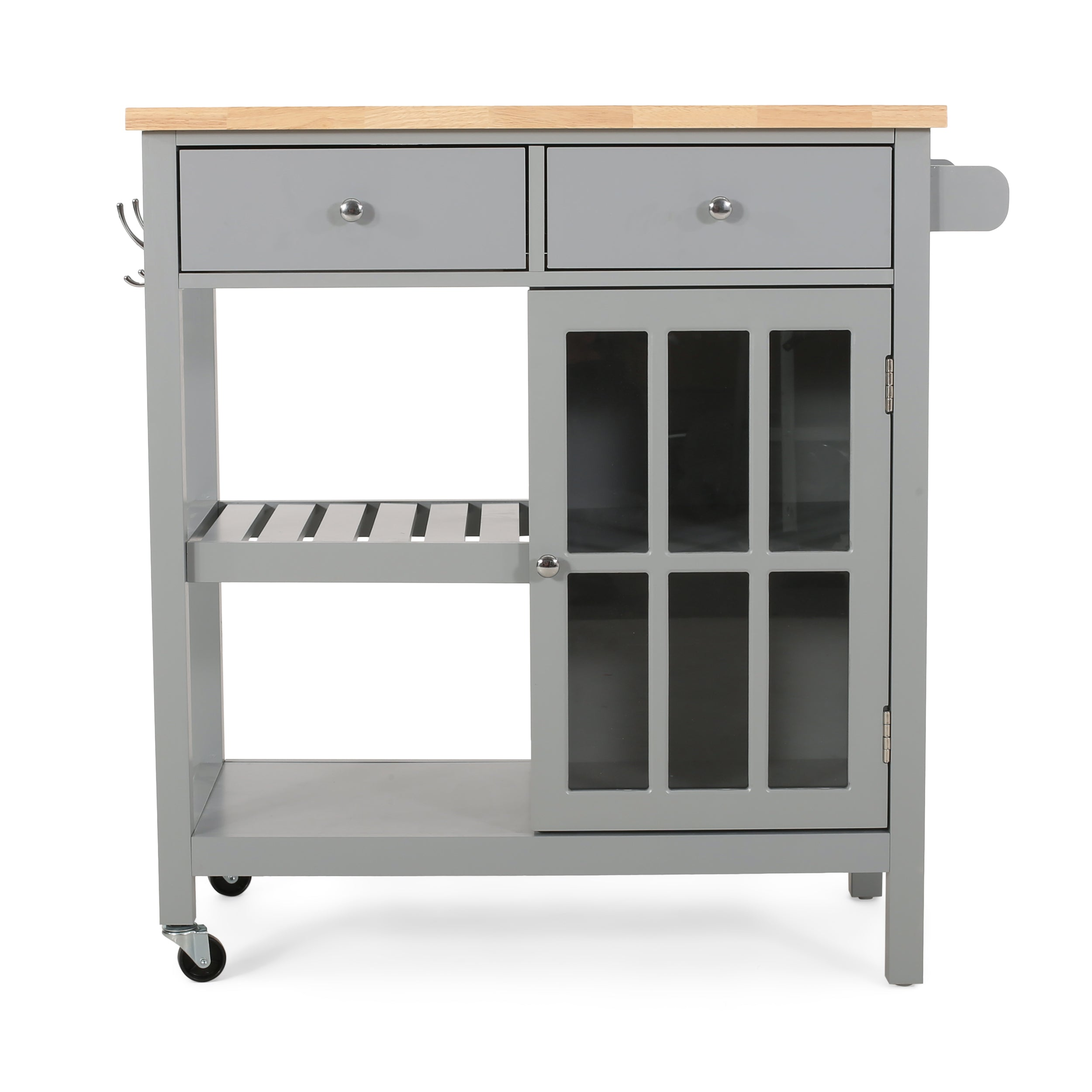 Aidah Contemporary Kitchen Cart with Wheels Gray