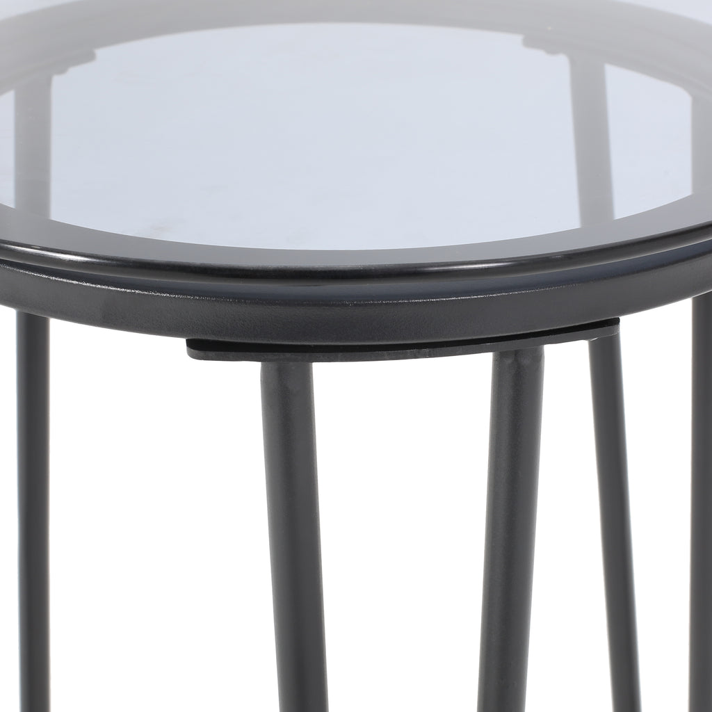 Morocco Modern Outdoor Side Table with Tempered Glass Top