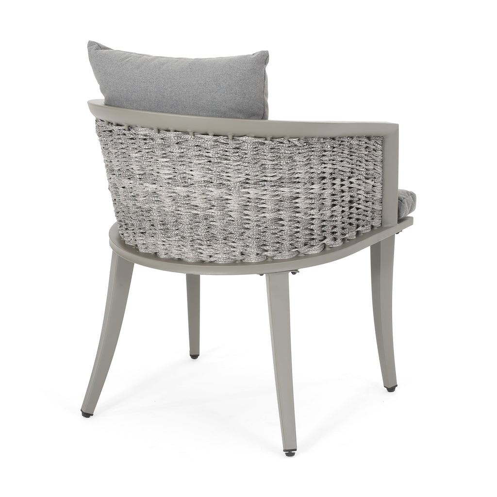 Kalyiah Outdoor Boho Wicker Chat Set with Side Table