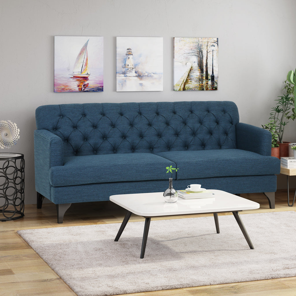 Maysin Contemporary Tufted Fabric 3 Seater Sofa