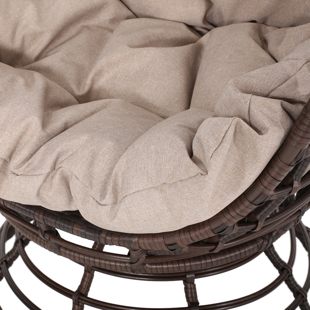 Mylen Outdoor Wicker Swivel Egg Chair with Cushion