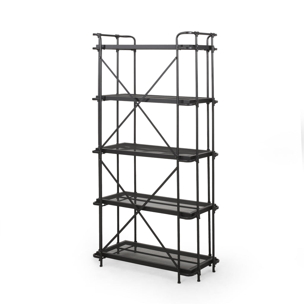 Amri Outdoor Industrial 5-Shelf Iron Mesh Etagere Bookcase