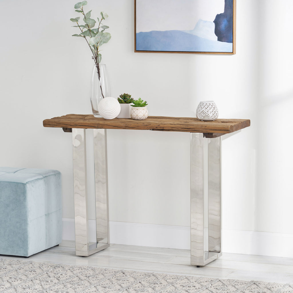 Breklyn Rustic Glam Console Table with Raw Wood Tabletop