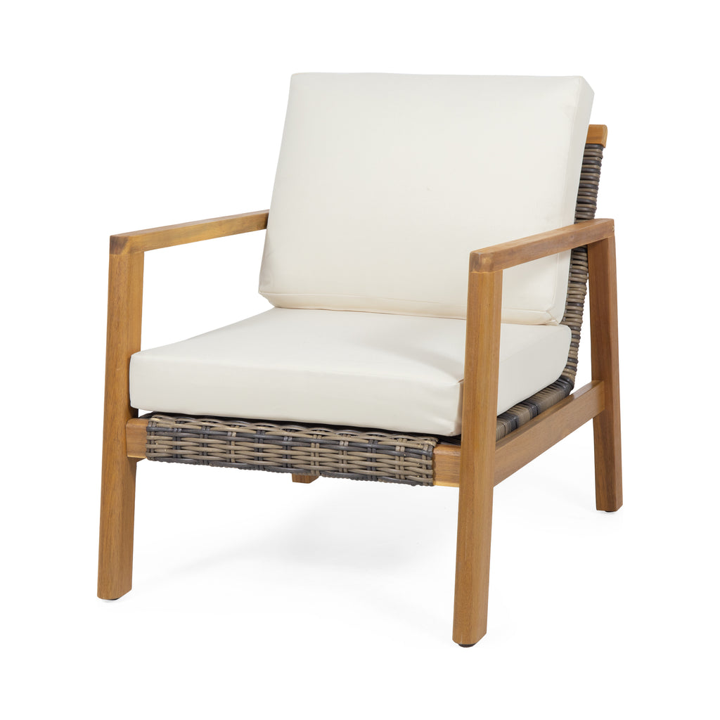 Kedan Outdoor Acacia Wood Club Chairs with Wicker Accents (Set of 2)