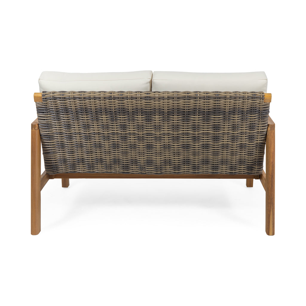 Kedan Outdoor Acacia Wood Loveseat with Wicker Accents
