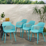 Irene Outdoor Modern Dining Chair (Set of 4)