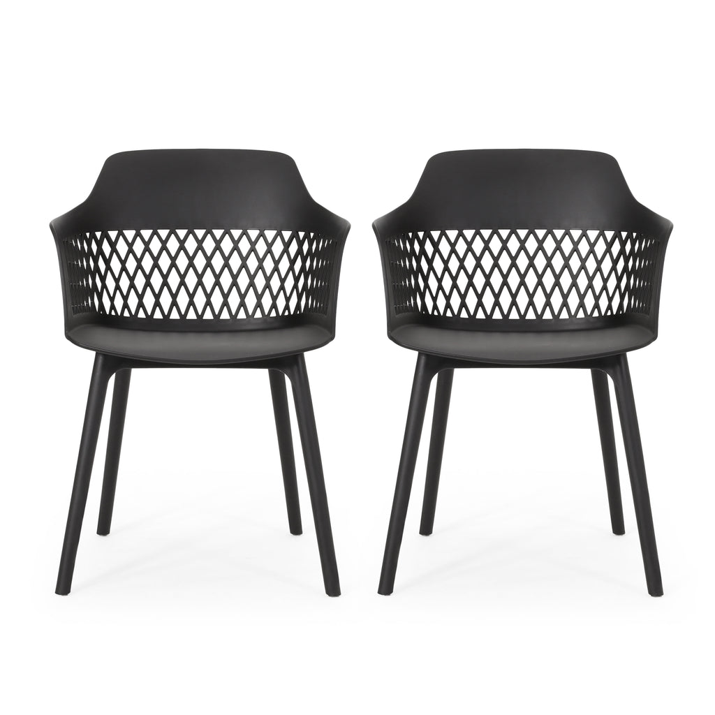 Airyanna Outdoor Modern Dining Chair (Set of 2)