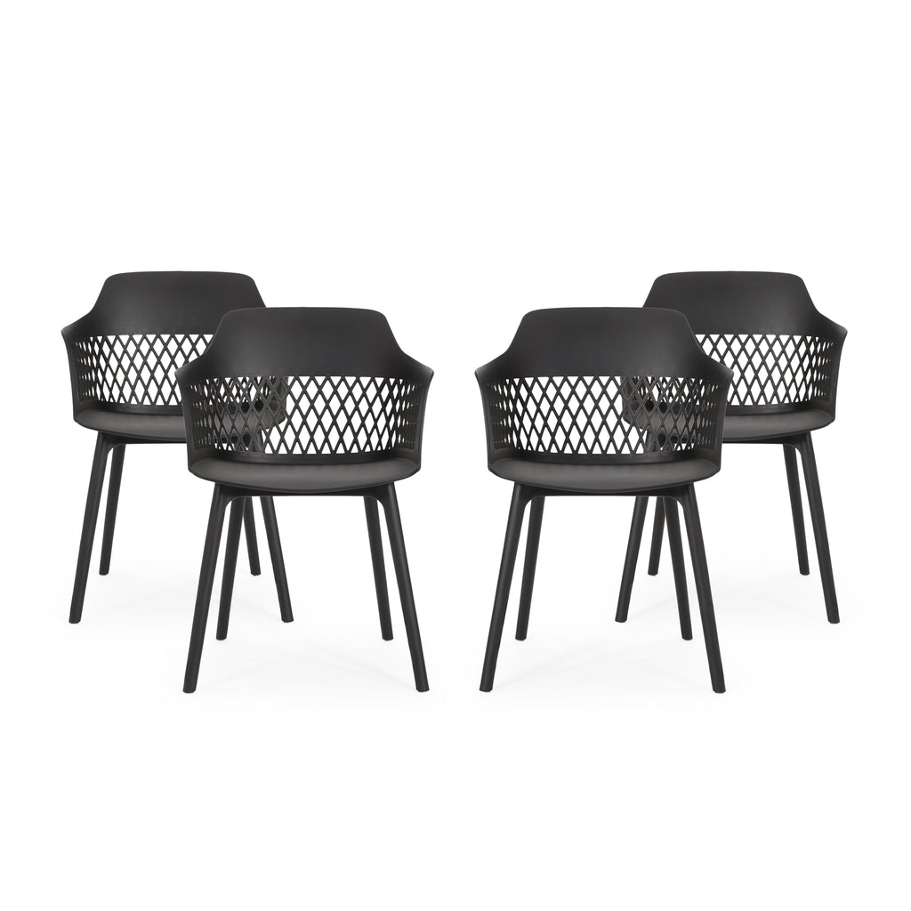 Airyanna Outdoor Modern Dining Chair (Set of 4)