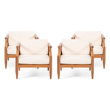 Bianca Outdoor Mid-Century Modern Acacia Wood Club Chair With Cushion (Set of 4)