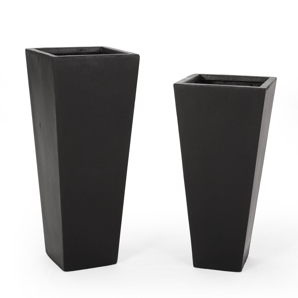 Fardeen Outdoor Modern Large and Medium Cast Stone Planter Set