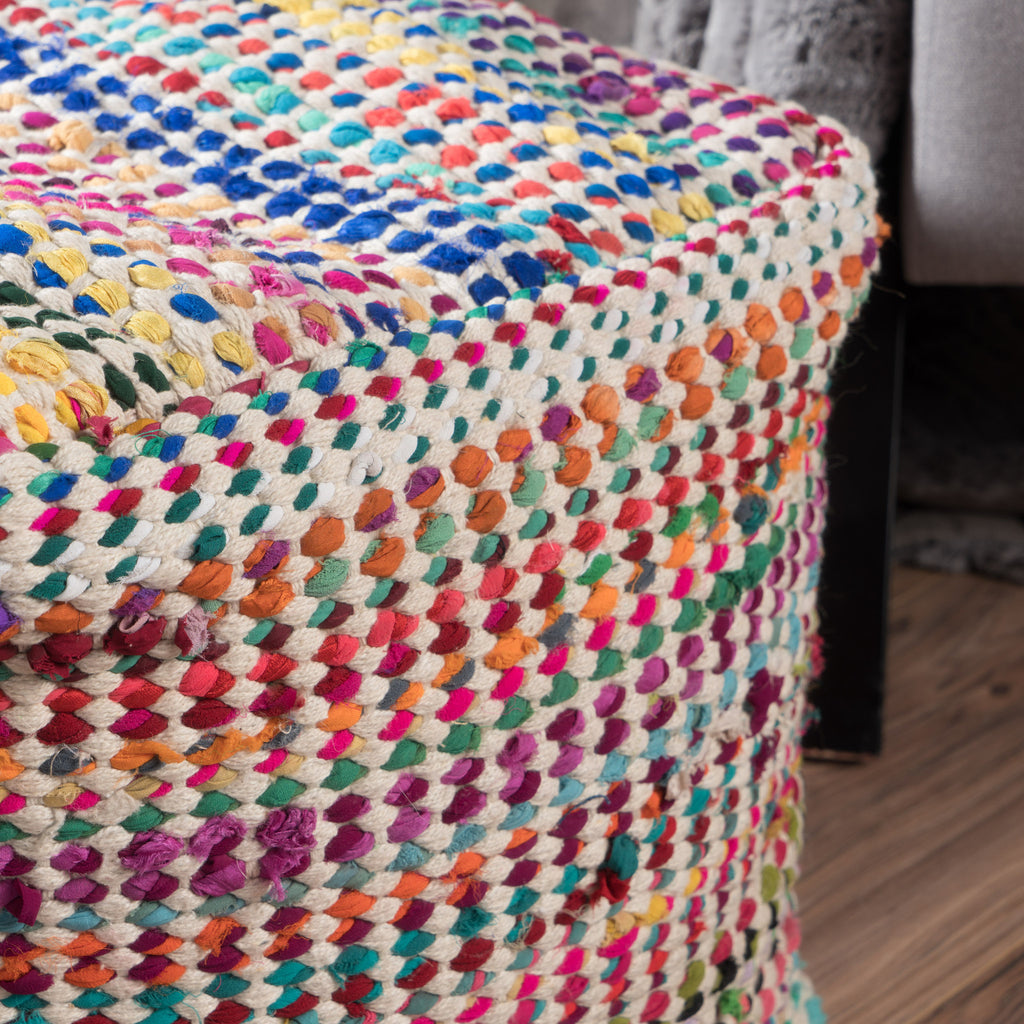Marcela Handcrafted Boho Fabric Pouf