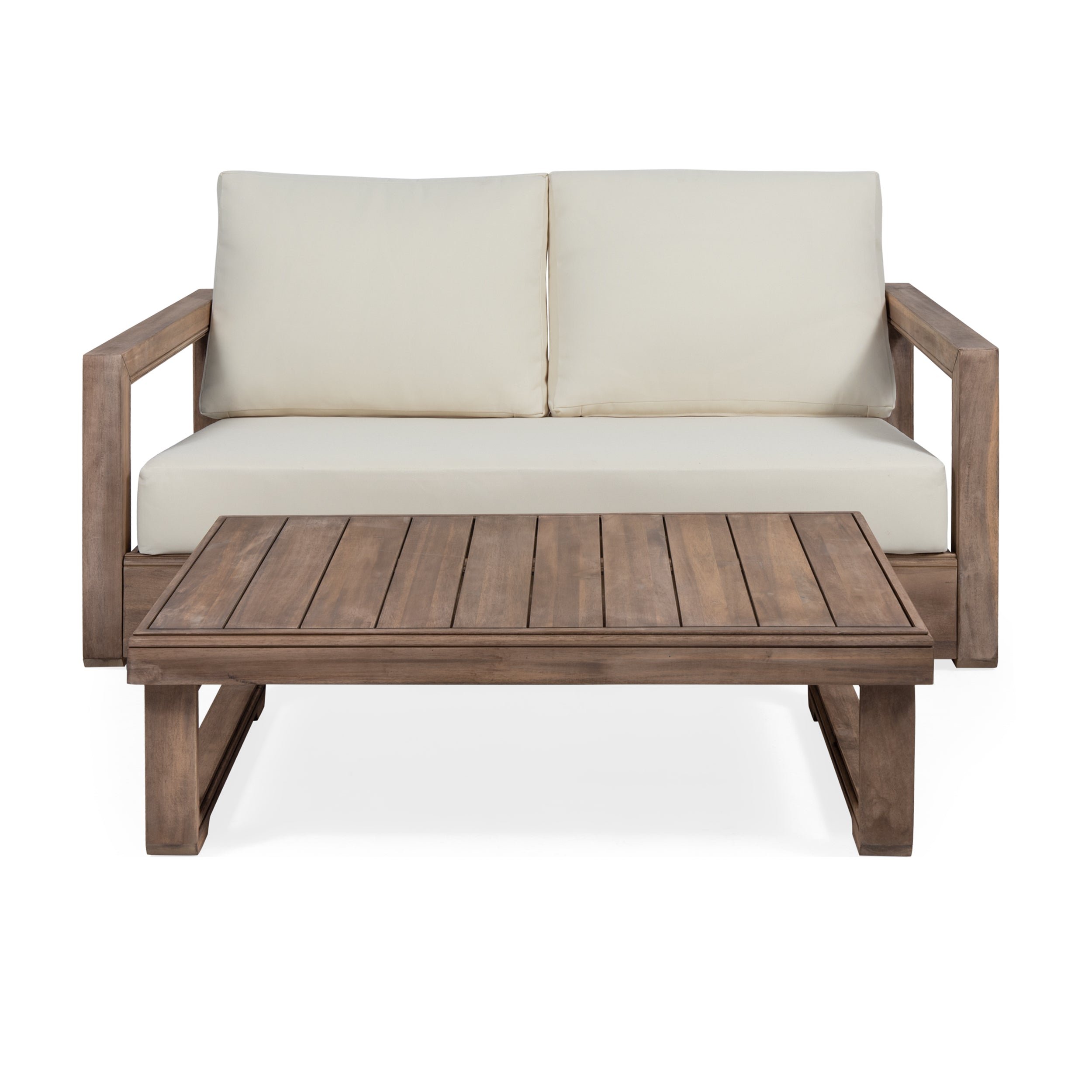Andrae Outdoor Acacia Wood Loveseat Set with Coffee Table Default Title