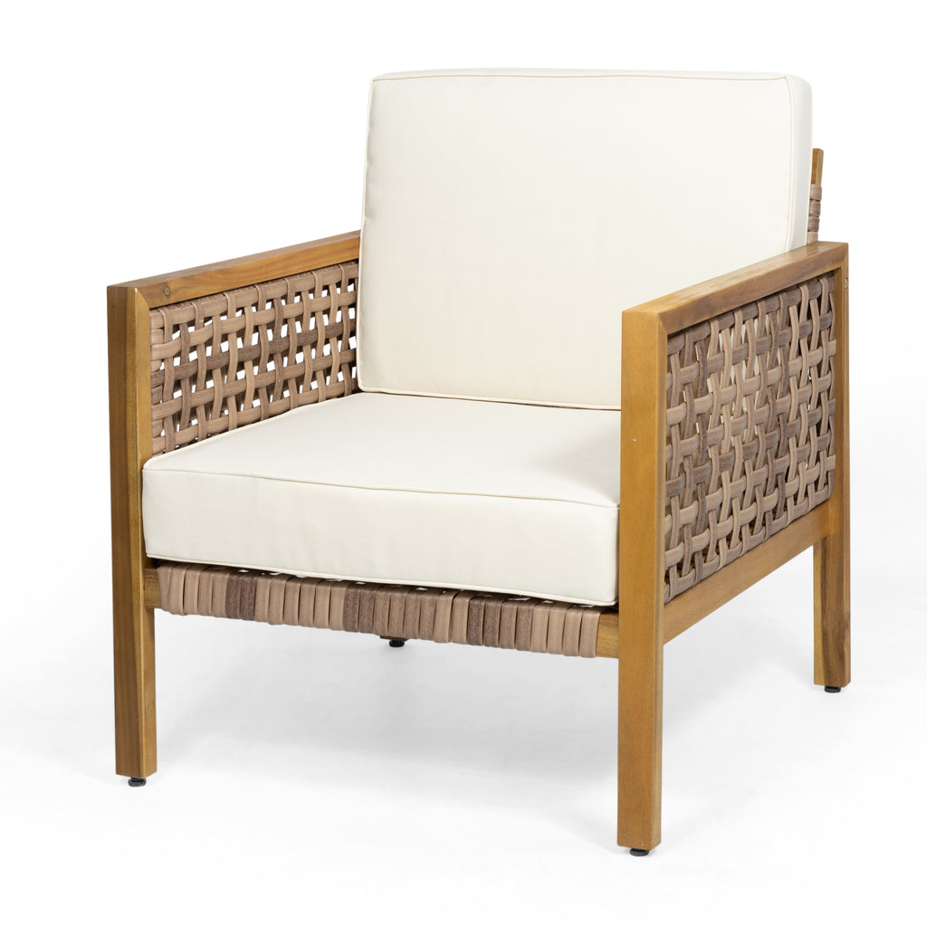 Maycen Outdoor 4 Seater Acacia Wood Chat Set with Wicker Accents