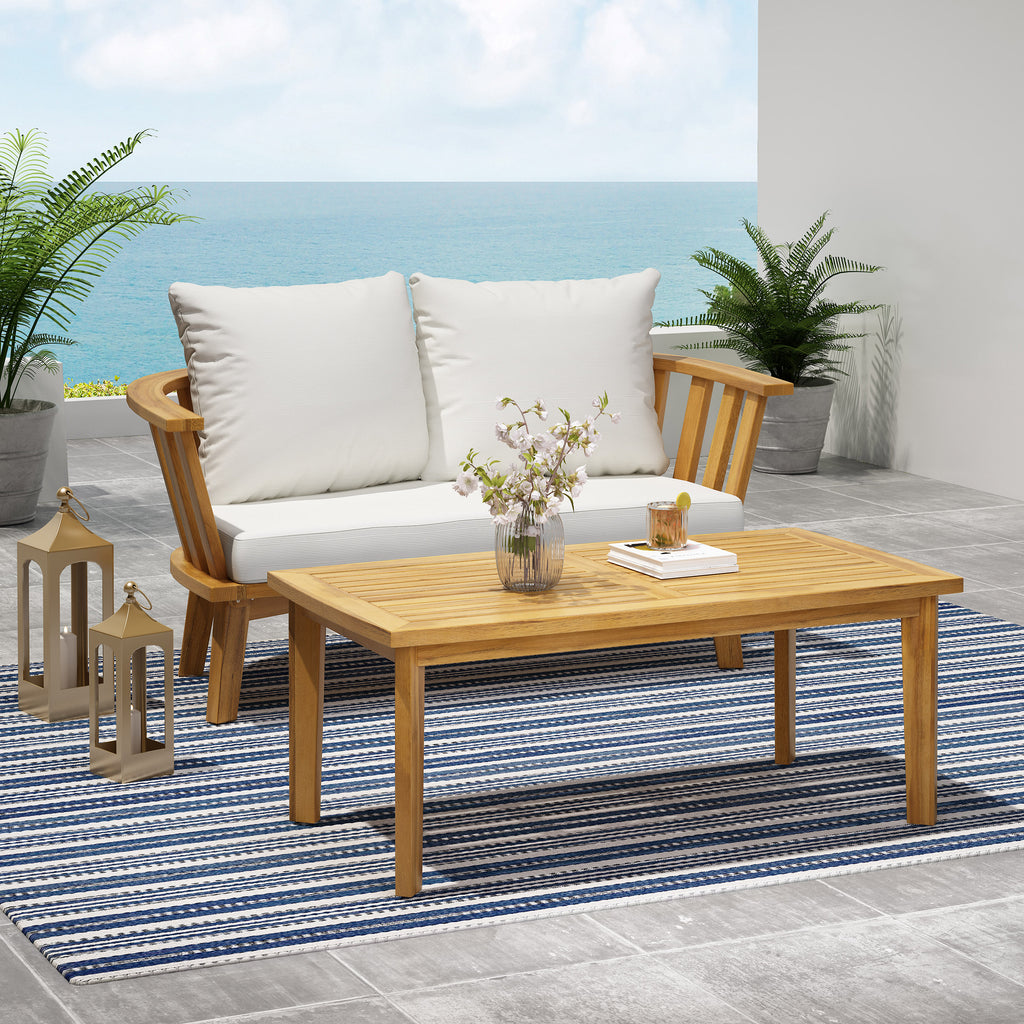 Laiah Outdoor Wooden Loveseat and Coffee Table Set
