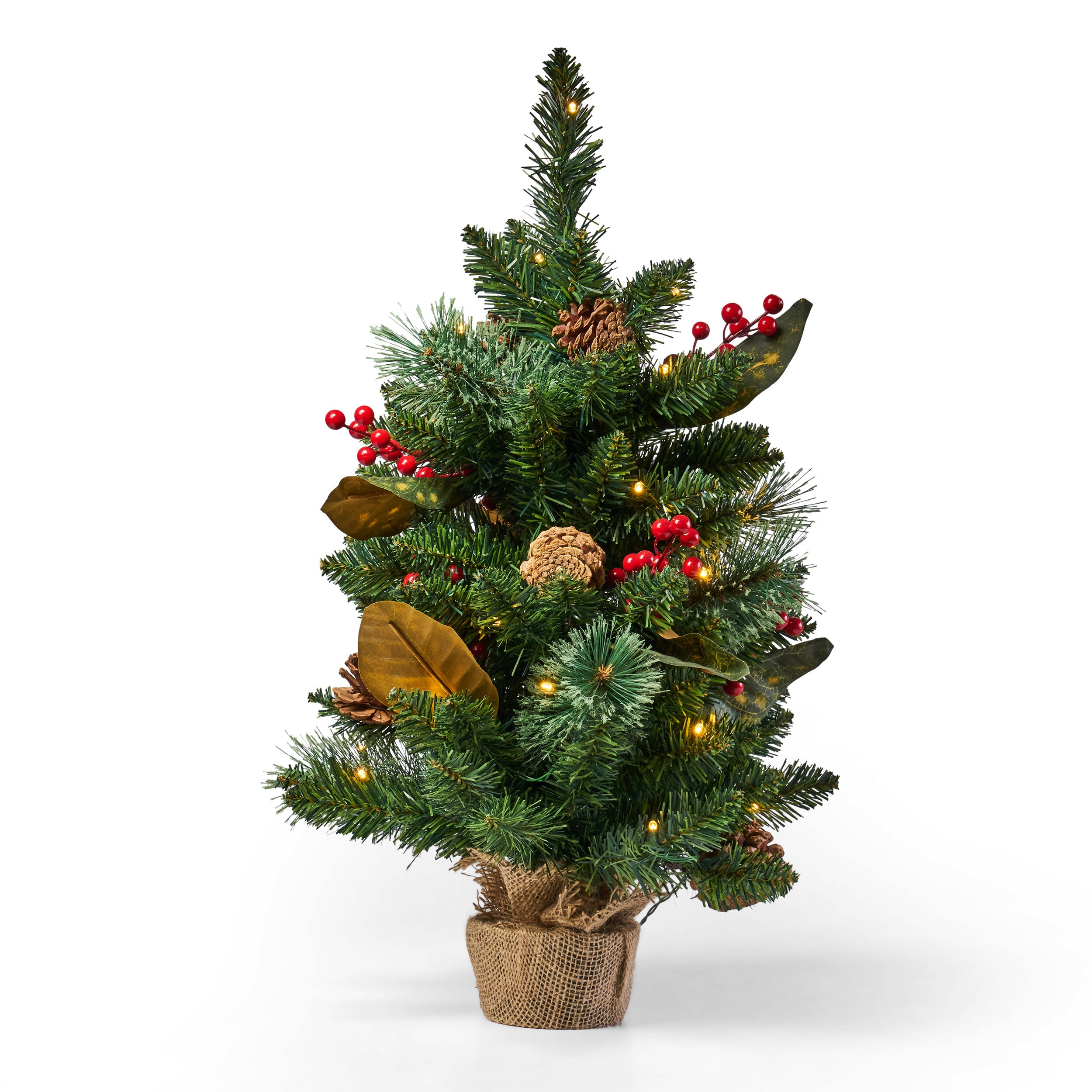 24 Pine Pre Lit Clear LED Pre Decorated Artificial Christmas Tree Green