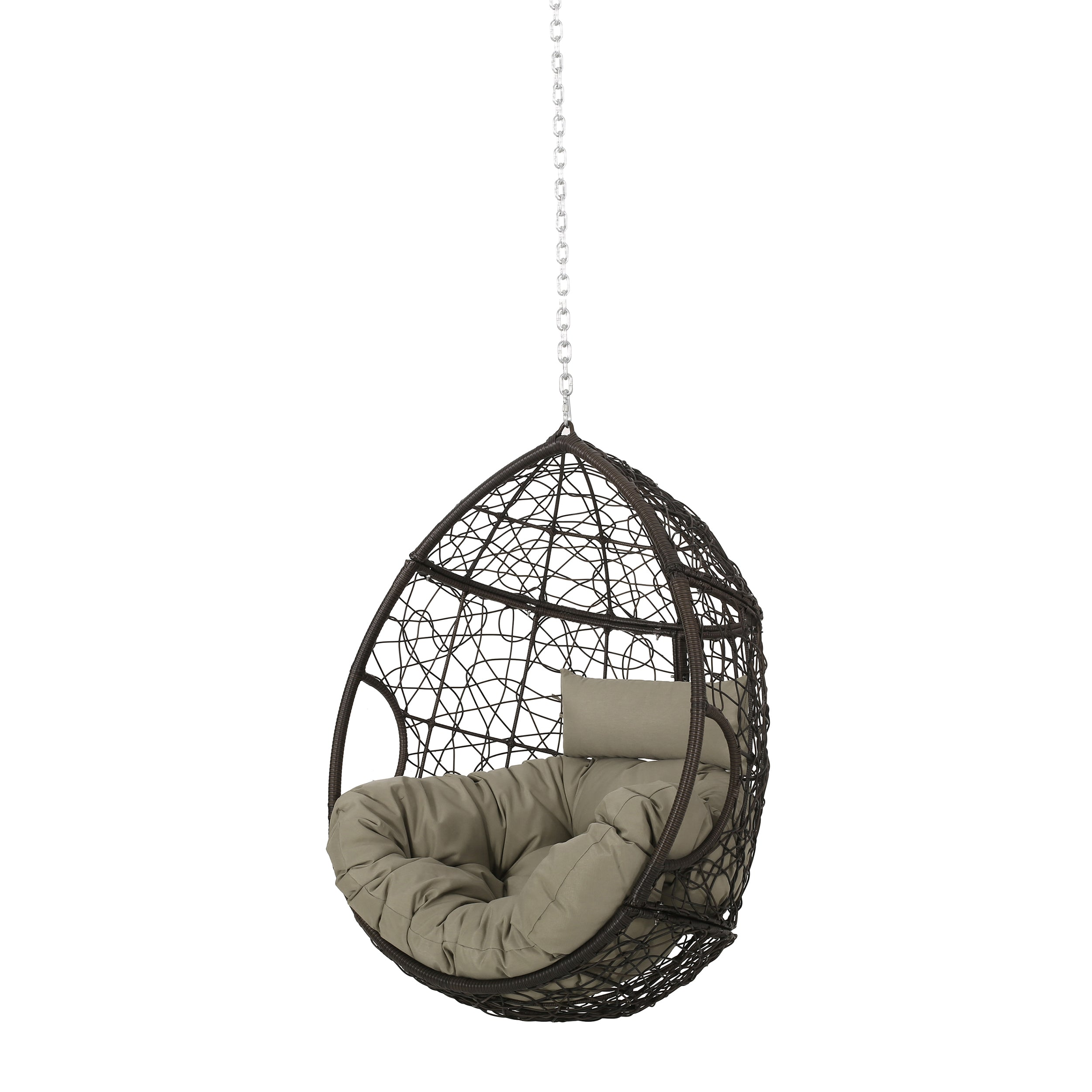 Alannah Outdoor and Indoor Wicker Hanging Chair with 8 Foot Chain NO STAND Multi BrownKhaki