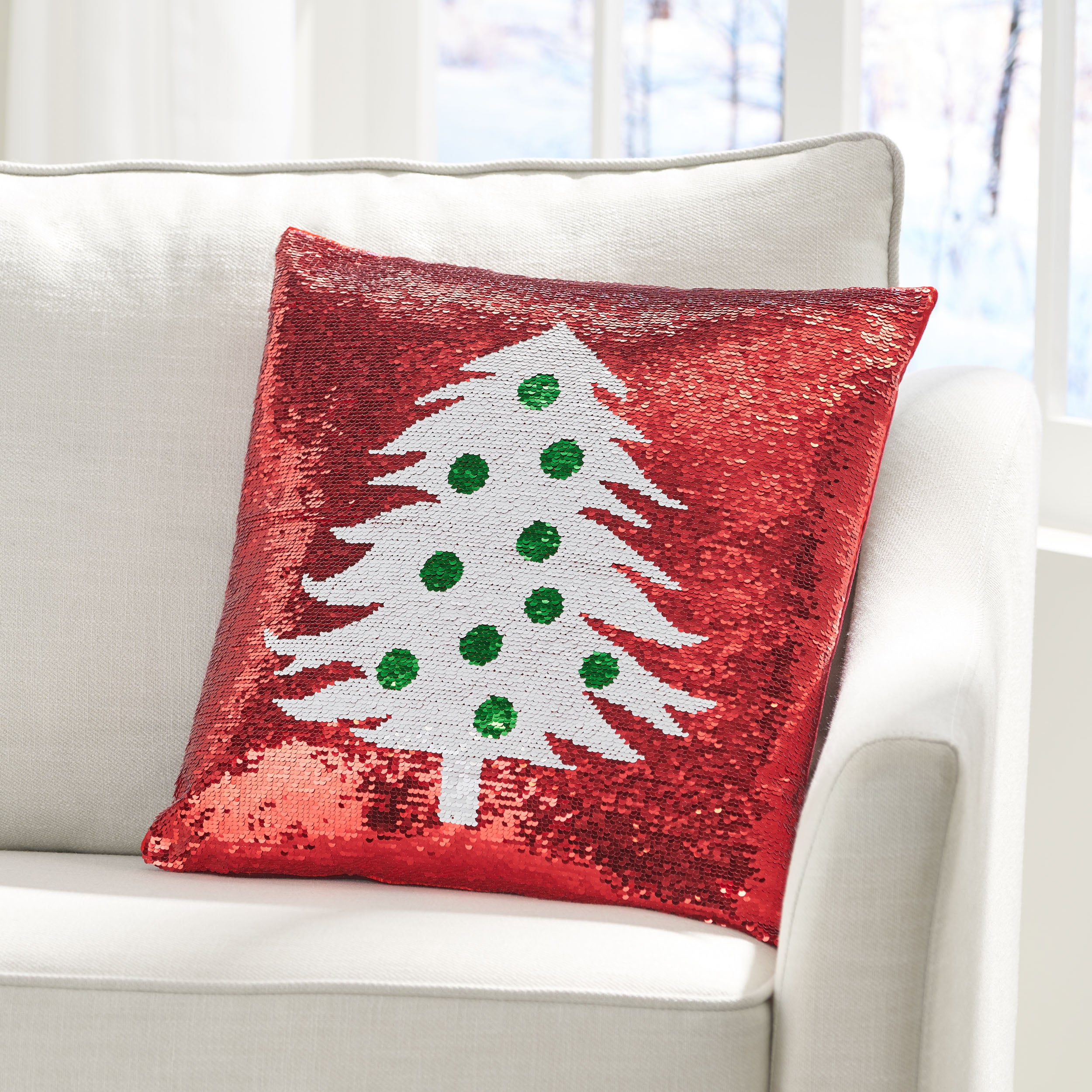 Romious Glam Sequin Christmas Throw Pillow Cover Gdfstudio