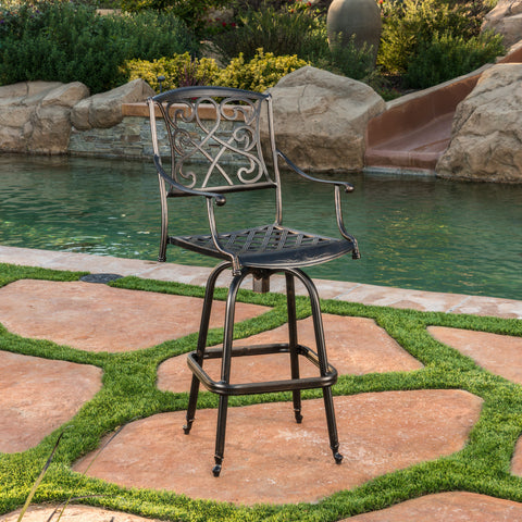 Paris Copper Finish Cast Aluminum 30-Inch Swivel Single Bar Stool
