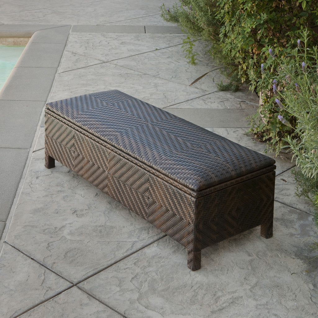 817056010507 Santa Cruz Brown Wicker Storage Ottoman Closed View Outdoors