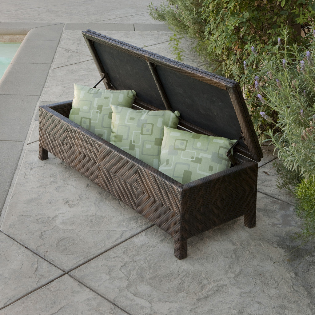817056010507 Santa Cruz Brown Wicker Storage Ottoman Open View Outdoors