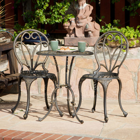 817056010514 Windsor Dark Gold Cast Aluminum 3-piece Bistro Set Full View Outdoor