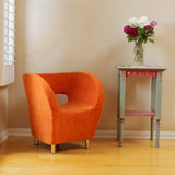 817056013942 Salazar Orange Microfiber Chair Full View in Room