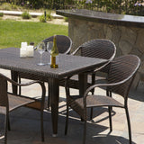 817056015205 Rancho 7 Piece Wicker Outdoor Dining Set Detail View