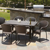 817056015205 Rancho 7 Piece Wicker Outdoor Dining Set Outdoor View