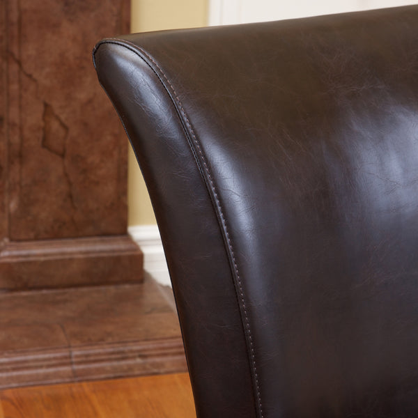 Monroe Brown Leather Dining Chairs Set Of 2 Gdf Studio
