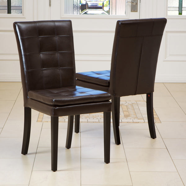 Barrington Contemporary Tufted Brown Bonded Leather Dining Chairs (Set of 2)