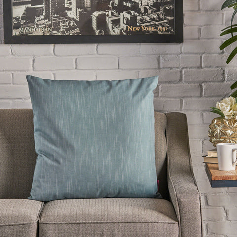 Misty Indoor Teal Water Resistant Large Square Throw Pillow
