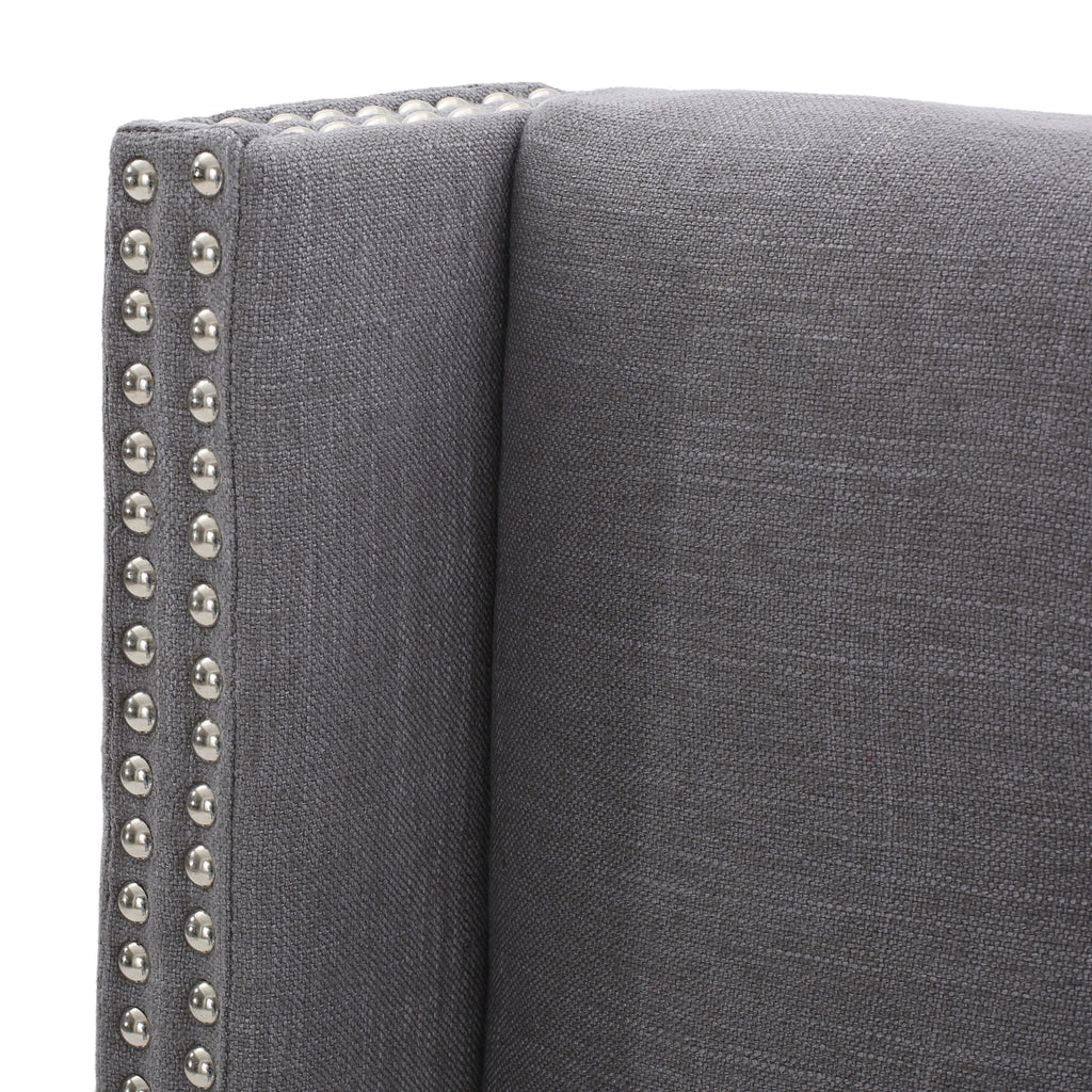 Karen Button Tufted Fabric King/Cal King Headboard with Nailhead Accents