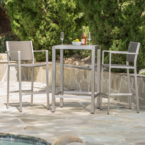 Capral Outdoor 3 Piece Grey Wicker Bar Set with Glass Table Top