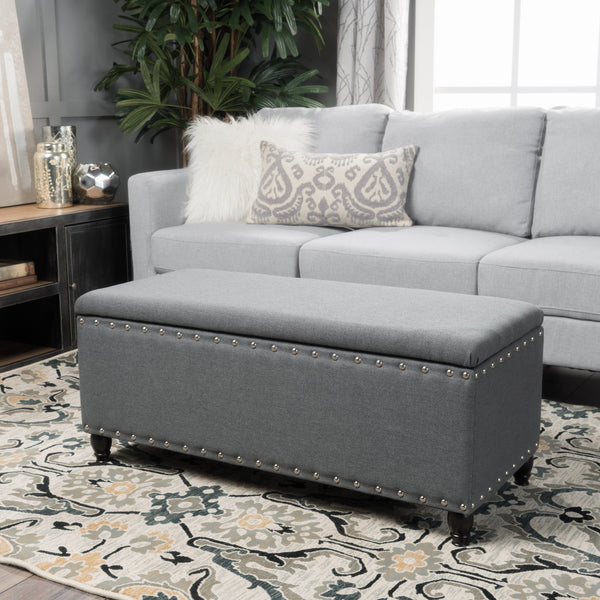 Dynasty Fabric Storage Ottoman Gdf Studio