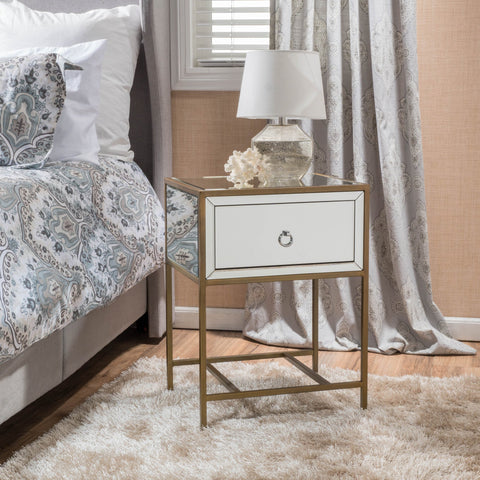 Essa Mirrored Gold Single Drawer Side Table