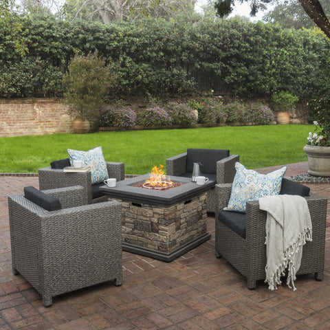 Venice 4-Seater Outdoor Fire Pit Chat Set