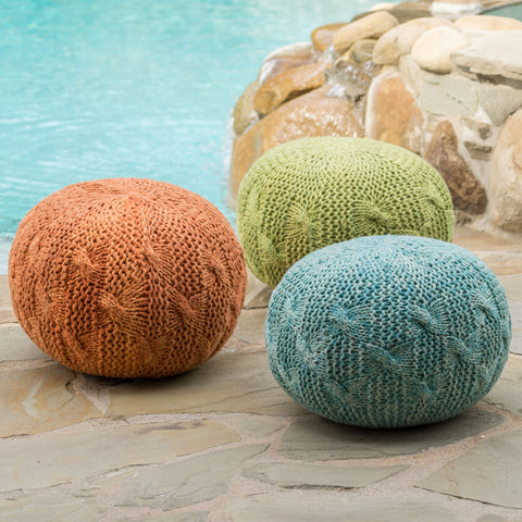 Ash Indoor/Outdoor Fabric Hand Knitted Weave Pouf