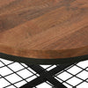 Mirics Modern Industrial Handcrafted Mango Wood Coffee Table with Shelf, Honey Brown and Black