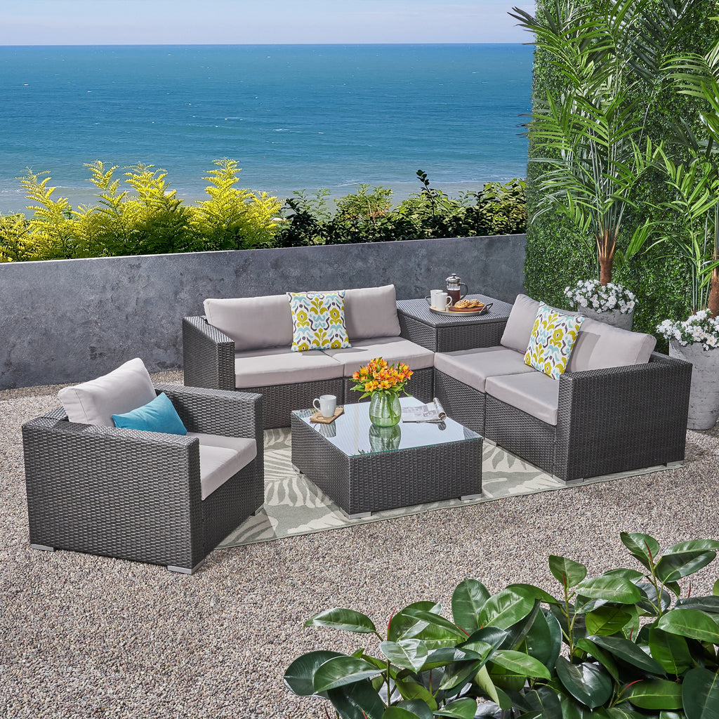Valentina Outdoor 5-Seater Sectional Sofa Set with Club Chair and Storage Ottoman
