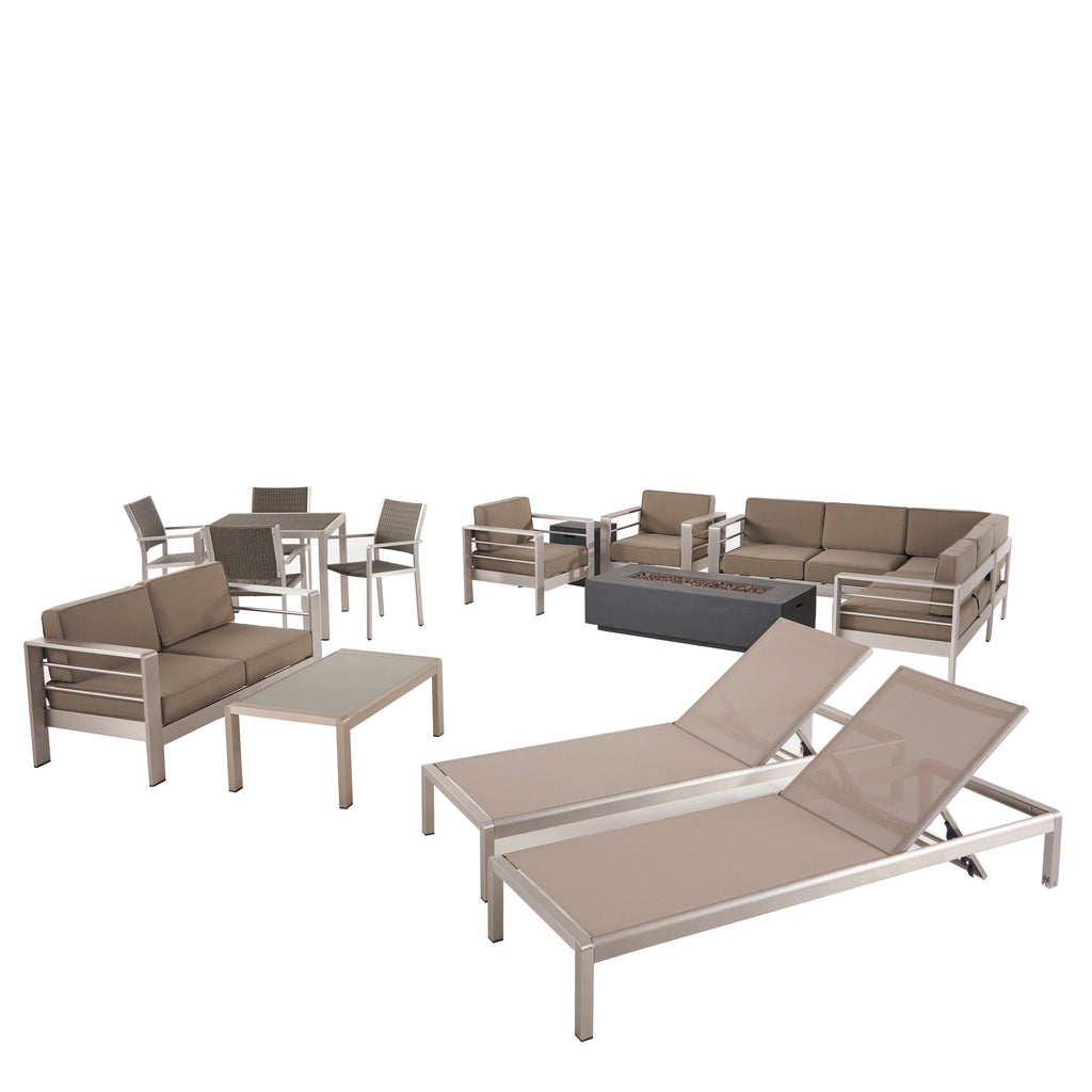 Cherie Outdoor 16 Piece Aluminum Estate Collection with Cushions and Fire Pit